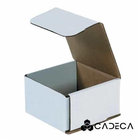 4 3/8 x 4 3/8 x 2 1/2 Sobres de cartón corrugado blanco 50 / paquete