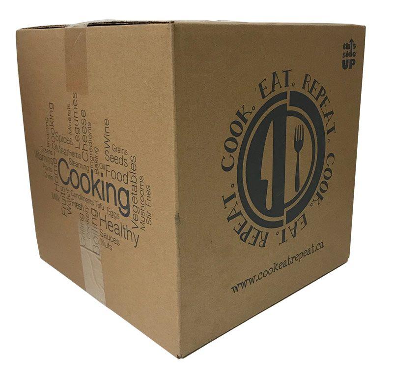 cajas de envío de cartón ranurado regular cocinar comer repetir