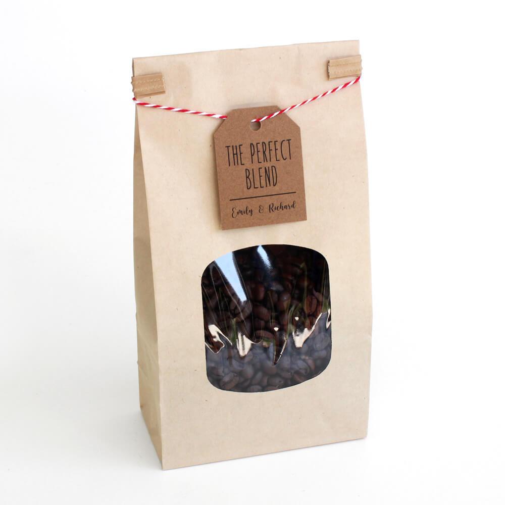 Bolsa de café kraft tin tie con cordón y etiqueta de <strong data-src=